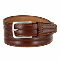 "S067/30 Men's Italian Leather Dress Casual Belt 1-1/8"" Wide Made in Italy - Bruciato (Med. Brown)"