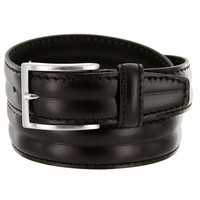 """S067/35 Men's Italian Leather Dress Casual Belt 1-3/8"""" Wide Made in Italy - Nero (Black)"""
