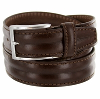"""S067/35 Men's Italian Leather Dress Casual Belt 1-3/8"""" Wide Made in Italy - T.Moro (Dark Brown)"""