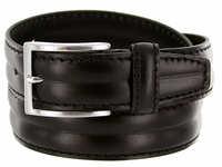 S067 Men's Italian Leather Dress Casual Belt Made in Italy - Nero(Black)