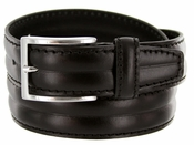S067 Men's Italian Leather Dress Casual Belt Made in Italy - Nero (Black)