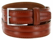 S067 Men's Italian Leather Dress Casual Belt Made in Italy - Marrone (Brown)