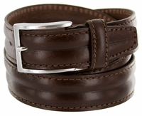 S067 Men's Italian Leather Dress Casual Belt Made in Italy - T.Moro(Dark Brown)