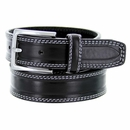 """S074/30 Men's Italian Leather Dress Casual Belt 1-1/8"""" Wide Made in Italy - Nero (Black)"""
