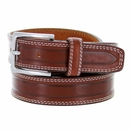 """S074/35 Men's Italian Leather Dress Casual Belt 1-3/8"""" Wide Made in Italy - Marrone (Brown)"""