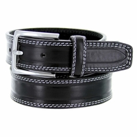 """S074/35 Men's Italian Leather Dress Casual Belt 1-3/8"""" Wide Made in Italy - Nero (Black)"""