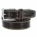 """S074/35 Men's Italian Leather Dress Casual Belt 1-3/8"""" Wide Made in Italy - T.Moro (Dark Brown)"""