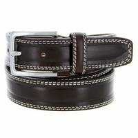 "S074/35 Men's Italian Leather Dress Casual Belt 1-3/8"" Wide Made in Italy - T. Moro (Dark Brown)"