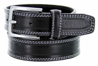 S074 Men's Italian Leather Dress Casual Belt Made in Italy - Nero(Black)