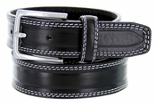 S074 Men's Italian Leather Dress Casual Belt Made in Italy - Nero (Black)