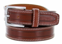 S074 Men's Italian Leather Dress Casual Belt Made in Italy - Marrone (Brown)
