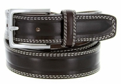 S074 Men's Italian Leather Dress Casual Belt Made in Italy - T.Moro (Dark Brown)