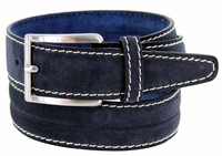 S075 Men's Italian Suede Leather Dress Casual Belt Made in Italy - Blue
