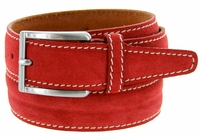 S075 Men's Italian Suede Leather Dress Casual Belt Made in Italy - Rosso(Red)