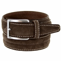 S075 Men's Italian Suede Leather Dress Casual Belt Made in Italy - T.Moro(Dark Brown)