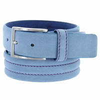 S110 Men's Italian Suede Leather Dress Casual Belt Made in Italy - Azzurro (Sky Blue)