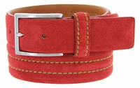 S110 Men's Italian Suede Leather Dress Casual Belt Made in Italy - Rosso(Red)