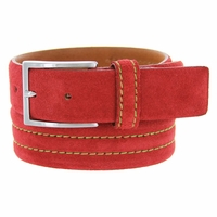 S110 Men's Italian Suede Leather Dress Casual Belt Made in Italy - Rosso (Red)
