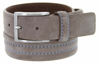 S110 Men's Italian Suede Leather Dress Casual Belt Made in Italy - Taupe (Gray)