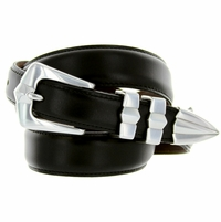 S5502 Men's Black Smooth Dress Leather Belt