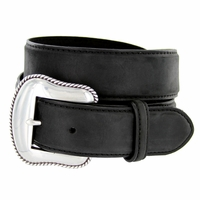 "S5733 Antique Silver Engraved Western Buckle Genuine Leather Belt 1-1/2"" Black"