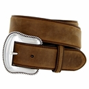 "S5733 Antique Silver Engraved Western Buckle Genuine Leather Belt 1-1/2"" Brown"