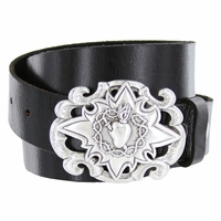 Sacred Heart Buckle Casual Jean Leather Belt