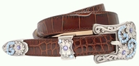Samantha Blue Swarovski Rhinestone Womens Western  Leather Belt