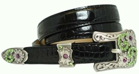 Samantha Green Swarovski Rhinestone Womens Leather Belt