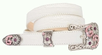 Samantha  Womens Western Pink Swarovski Rhinestone Leather Belt