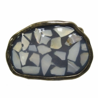 "Seashell Inlaid Belt Buckle"" New"""