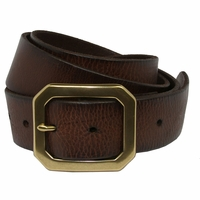 Seattle Men's Full Grain Leather Casual Jean Belt W/ Solid Brass Buckle -Dark Brown
