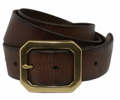 Seattle  Men's Full Grain Leather Casual Jean Belt W/ Solid Brass Buckle -Dark Brown $27.50