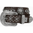 Selena's Rhinestone Cowgirl Western Embossed Bling Crystal Berry Belt-Brown