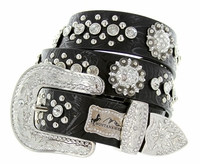 Selena's Western Embossed Crystal Berry Belt-Black