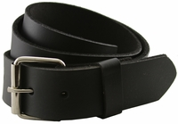 "Seris 100% Leather Full Grain Cowhide Roller Belt - Black 1.5"" Wide"