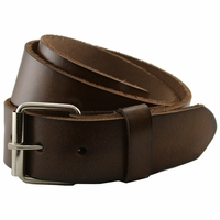 "Seris 100% Leather Full Grain Cowhide Roller Belt - Brown 1.5"" Wide"