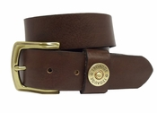 Shotshell Mens Leather Casual Belt-Dark Brown