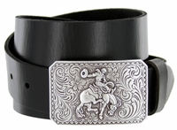 Silver Bronco Rider Cowboy Leather Belt $27.95