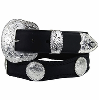 Silver City Western Concho Leather Belt-Black