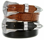 Silver Colorado Men's Leather Western Belt