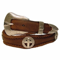Silver Cross Christian Leather Western Belt