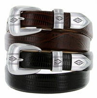 Silver Diamond Italian Calfskin Designer Golf Leather Dress Belt