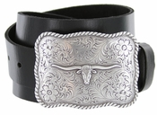 Silver Longhorn Western Buckle Full Grain Leather Belt $27.50