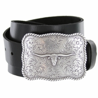 Silver Longhorn Western Buckle Full Grain Leather Belt