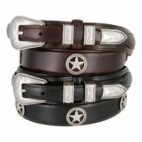 Silver Star Men's Oil Tanned Leather Ranger Belt