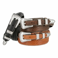 Silver Western Engraved Rope Edge 100% Bison Leather Ranger Belt