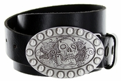 Skull Belt Buckle Casual Jean Leather Belt