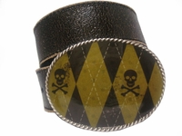 Skull & Crossbones Golf Argyle Punk Buckle Belt