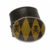 Skull & Crossbones Golf Argyle Punk Buckle Distressed Belt